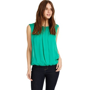 Phase Eight Green riley pleat front silk blouse