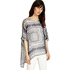 Phase Eight - Grey and Ivory paisley print silk blouse