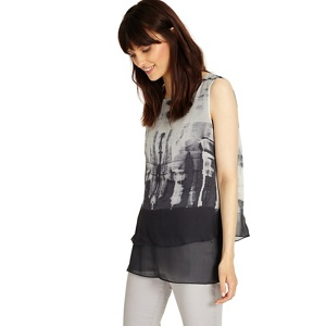 Phase Eight Gunmetal martyna print silk blouse
