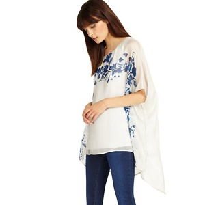 Phase Eight Grey and Blue tamsin silk floral blouse