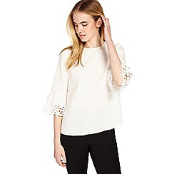 Phase Eight - Ivory tabbie lace cuff linen blouse
