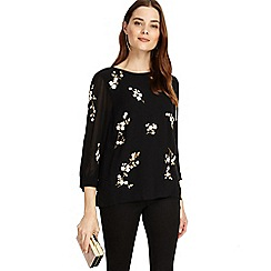 Phase Eight - Black Hina embroidered blouse