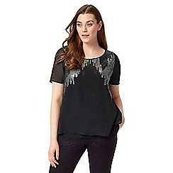 Studio 8 - Sizes 12-26 Silver and Black echo sequin top