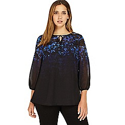 Studio 8 - Sizes 12-26 Blue and Black jess print blouse
