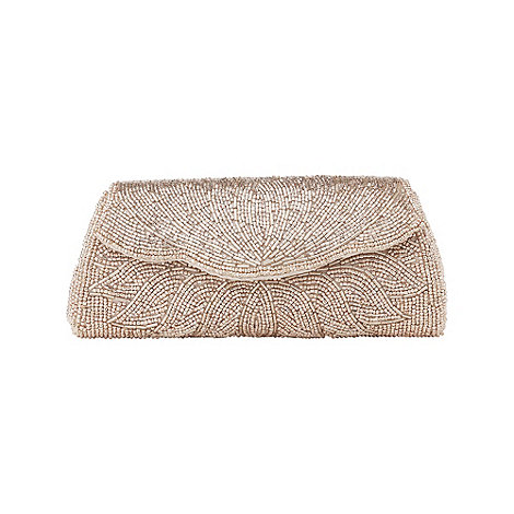 Phase Eight - Mink Myley Metallic Beaded Clutch Bag