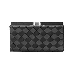 Phase Eight - Black evie weave clutch bag