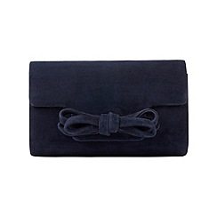 Phase Eight - Navy elena suede bow clutch bag