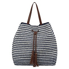 Phase Eight - Navy and white camille straw bag