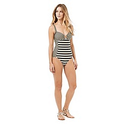 Phase Eight - Black And Champagne Stripe Swimsuit
