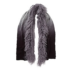 Phase Eight - Charcoal mongolian fur trim scarf