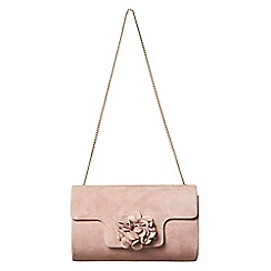 Phase Eight - Pink petal suede clutch