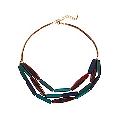 Phase Eight - Multi-coloured multi row wooden necklace