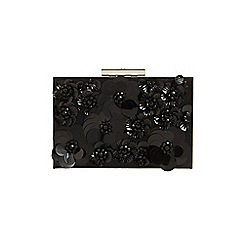 Phase Eight - Black flora box clutch bag