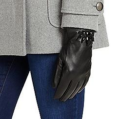 Phase Eight - Black embellished leather gloves