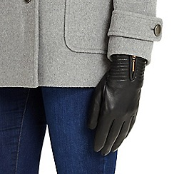 Phase Eight - Black zip leather gloves