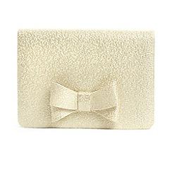 Phase Eight - Cream ariel metallic bow clutch bag