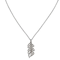 Phase Eight - Cubic Zirconia Feather Pendant Necklace
