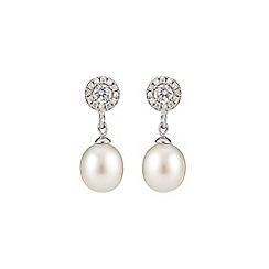 Phase Eight - Freshwater Pearl Cubic Zirconia Drop Earrings