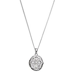 Phase Eight - Cubic Zirconia Oval Lace Locket Necklace