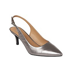 Phase Eight - Pewter victoria leather kitten heel sling back shoes