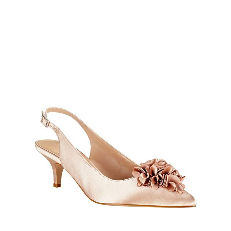 Phase Eight Alana Frill Satin Kitten Heel Shoes