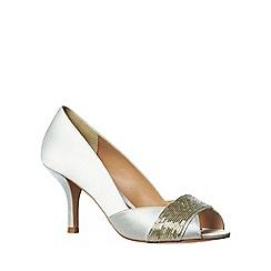 Phase Eight - Ivory Beaded Satin Peep Toe Shoes