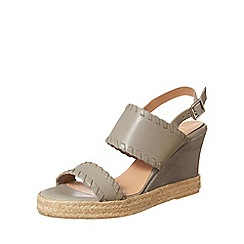 Phase Eight - Grey Whipstitch Leather Wedges