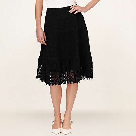 Phase Eight - Black tanya tiered embroidered skirt