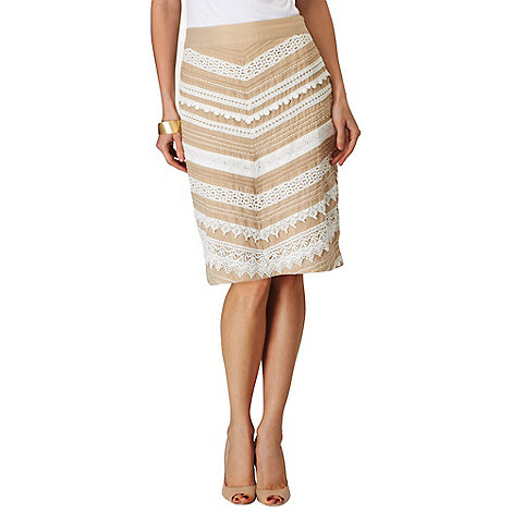 Phase Eight - Stone and Ivory Inez Lace Chevron Skirt