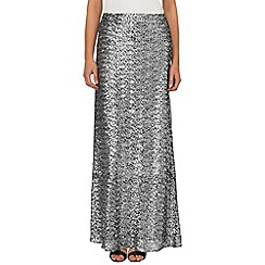 Phase Eight - Silver shimmer sequin maxi skirt