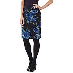 Phase Eight - Black and blue catrin rose jacquard skirt