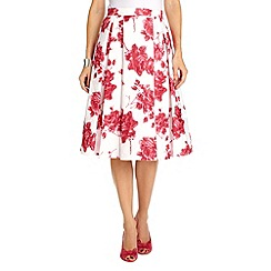 Phase Eight - Ivory and Geranium antoinella fit and flare skirt