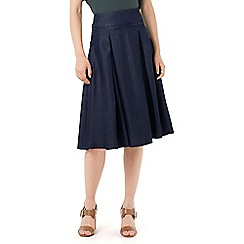 Phase Eight - Caria Chambray Box Pleat Skirt