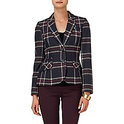 Phase Eight - Navy and Beaujolais esther large check riding jacket