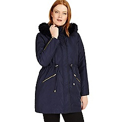Studio 8 - Sizes 12-26 Navy melanie fur trim parka
