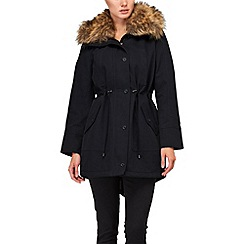 Phase Eight - Navy faye faux fur trim parka coat
