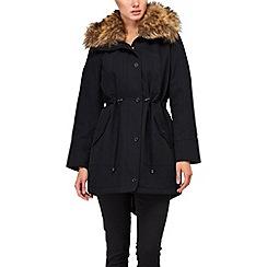 Phase Eight - Navy faye faux fur trim parka coat