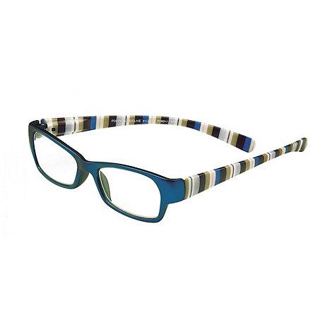 Sight Station - Poppy blue and olive fashion reading glasses
