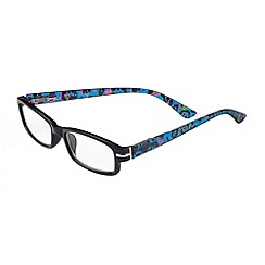 Sight Station - Alexa black with blue and purple check fashion reading glasses