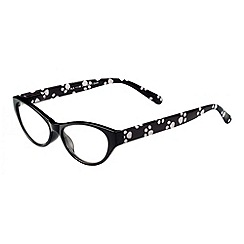 Sight Station - Lydia black with dog paw print fashion reading glasses