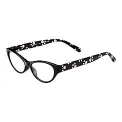 Sight Station - Lydia black with dog paw print fashion reading glasses