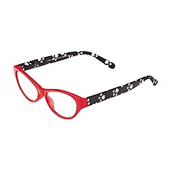 Sight Station - Lydia red with dog paw print fashion reading glasses