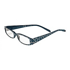 Sight Station - Nora navy with beige croc pattern fashion reading glasses