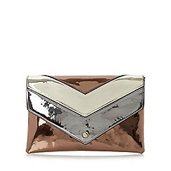 Dune - Bronze 'Berlyn' metallic chevron clutch bag
