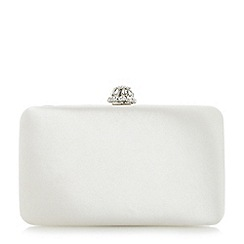 Dune - Ivory 'Bridey' satin box clutch bag