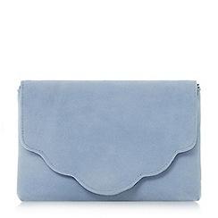 Dune - Blue 'Bcurve' scallop edge clutch bag