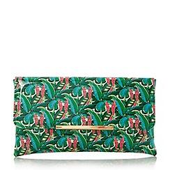 Dune - Multicoloured 'Balia' palm print clutch bag
