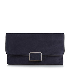 Dune - Navy 'Binny' rectangular trim flap over clutch bag
