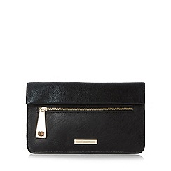 Dune - Black 'Evie' fold over flap and zip detail clutch bag