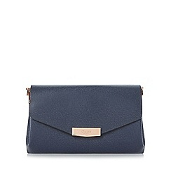 Dune - Navy 'Exie' multi compartment flap over clutch bag